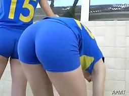 Sport girls stretching before game
