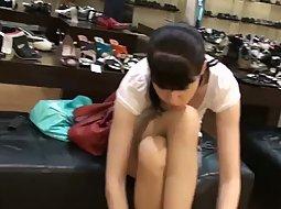 Shoe store upskirts