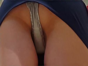 Upskirt of skinny woman when she bends over