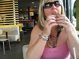 Wife shows pussy in a diner