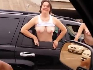 Sluts flash tits and ass from the car