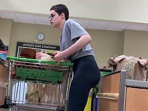 Hot ass of a nerdy girl with short hair