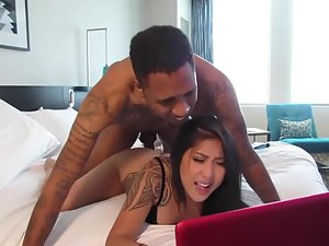 Black boy licks and fucks a tight asian booty