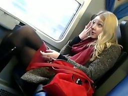 Gorgeus teen on the train