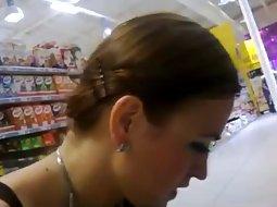 Smoking hot girl in the supermarket