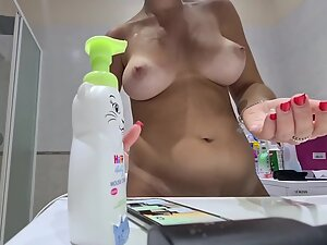 Hidden camera captures amazing tits with tan lines