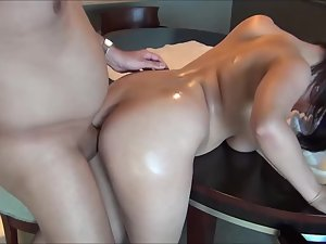 Oil massage followed by an anal sex fail
