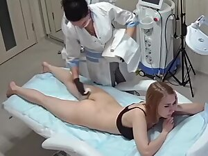 Spying on lovely naked ass during hair removal