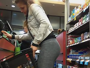 Sexy girl in tights caught in the store