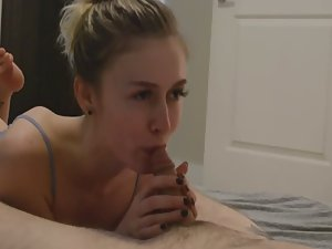 Romantic blowjob with a cumshot