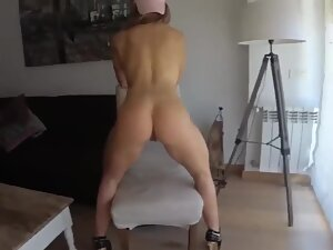 Fitness competitor poses and gets dick in her asshole