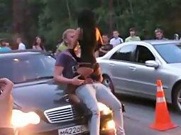 Car show striptease girl