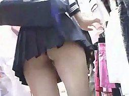 Asian girl in a short skirt