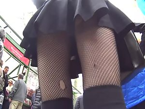 Upskirt of goth girl and college girl